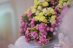 Amazing flower bouquet arrangement. Flower bouquet on wedding dining table Stock Photos