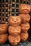 Amazing flowerpot. The flowerpot in the face style such as smile, angry, sad and stock image