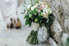 Amazing flowers for bride. In old city of Montenegro royalty free stock image