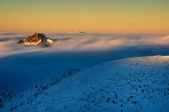 Mountain peak during cold winter day in Lesser Fatra, Slovakia Royalty Free Stock Image