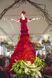 Amazing 14-foot tall Lady in Red  is a center piece of the famous Macy's Flower Show Royalty Free Stock Photo