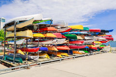 Amazing fragment of view of stylish sport canoe colorful boats background at waterfront Royalty Free Stock Photos