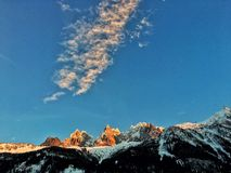 Amazing French Alps in Chamonix. Beautiful French Alps in Chamonix, amazing alpine country side. Wonderful sunset in french Alps Stock Photography