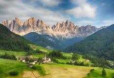 Amazing Funes valley in Dolomites, Italy Stock Photos