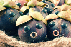 Amazing, funny, mangosteen, worried, anxiou face Stock Image