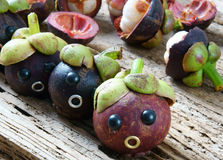 Amazing, funny, mangosteen, worried, anxiou face Royalty Free Stock Photos
