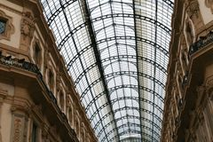 Amazing galleria Vittorio Emanuele II from inside the arcade. Concept of major landmark of Milan, Italy Royalty Free Stock Photos