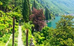 Beautiful view on Lake Como in Varenna. Amazing garden in Varenna in Lake Como royalty free stock photos