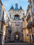 Amazing Gate Cailhau Porte Cailhau in the Bordeaux city, France royalty free stock photos