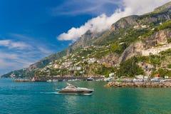 Amazing generic view on Amalfi coast from town of Amalfi, Campania region, Italy royalty free stock photos