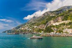 Amazing generic view on Amalfi coast from town of Amalfi, Campania region, Italy Royalty Free Stock Photography