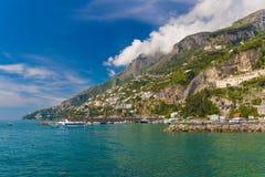 Amazing generic view on Amalfi coast from town of Amalfi, Campania region, Italy Royalty Free Stock Photo