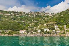 Amazing generic view on Amalfi coast from town of Maiori, Campania region, Italy Royalty Free Stock Photos