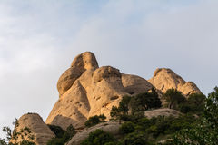 Amazing geological formations, strange-looking cliffs on sunset near  Monastery of Montserrat, Spain Stock Photo