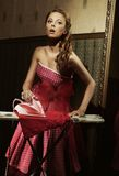 Amazing girl. Amazing pin up girl with pink dress Royalty Free Stock Photos