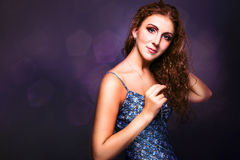 Amazing girl with beautiful long curly hair Royalty Free Stock Photos