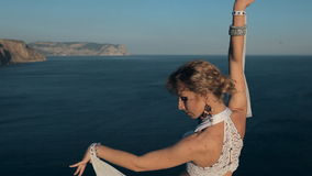 Amazing girl perform oriental dance on the crimean stock footage