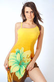 Amazing girl in a yellow summer dress Royalty Free Stock Photo