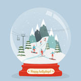 Amazing glass ball with ski resort landscape and people entertain winter sports. Snowboarders and Skiers on the mountain inside snow globe. Happy holidays vector illustration