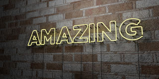 AMAZING - Glowing Neon Sign on stonework wall - 3D rendered royalty free stock illustration Stock Images
