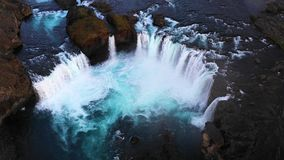 Amazing Godafoss waterfall in Iceland during sunset stock footage
