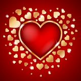 Amazing  golden heart frame with 3d red heart inside and many small golden hearts. Amazing golden heart frame with 3d red heart inside and many small golden Royalty Free Stock Photos