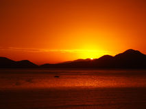 Amazing golden sunset Stock Photography