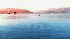 Amazing golden sunset in Marmaris stock footage