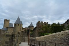 The amazing gothic castle of Carcassonne, surrounded by beautiful nature.France stock images