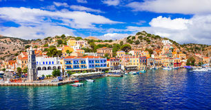 Amazing Greece - panoramic view of colorful Symi island, Dodecan Stock Image
