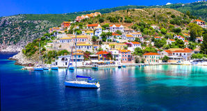 Amazing Greece series - beautiful colorful village Assos in Kefa Royalty Free Stock Images
