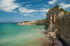 Amazing green beach Greece Corfu Royalty Free Stock Photos