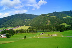 Amazing Green and blue colors. Summer in swiss alps small village and cow close to the road, Austria Royalty Free Stock Photo