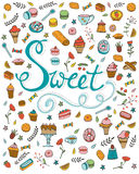 Amazing hand drawn sweets collection Stock Images