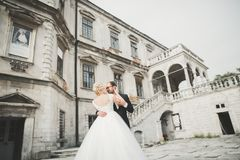 Amazing happy gentle stylish beautiful romantic caucasian couple on the background ancient baroque castle Stock Photo