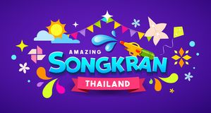 Free Amazing Happy Songkran Thailand Festival Message Colorful Design Royalty Free Stock Photos - 141094638