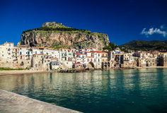 Amazing harbor view of small town Cefalu Stock Image