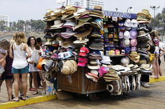 Amazing Hats. On the rolling store are Women's choice during hot summer Royalty Free Stock Photo