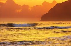 Hawaiian beach at sunrise Stock Photos