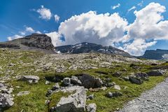 Amazing HDR landscape on high mountain route through the Gemmi P stock image