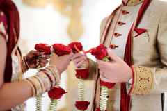 Amazing hindu wedding ceremony. Details of traditional indian wedding. Beautifully decorated hindu wedding accessories. Indian marriage traditions Stock Image