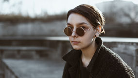 Amazing hipster girl in sunglasses Royalty Free Stock Photo
