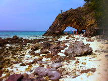 Amazing hole. At Southern beach in Thailand. Koh Kai, Satool Province Royalty Free Stock Photography