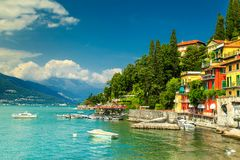 Spectacular cityscape with harbor and colorful buildings, Varenna, Lake Como Royalty Free Stock Photos