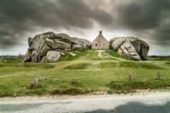 Amazing house in brittany meneham. Amazing landscape with house in brittany Royalty Free Stock Images