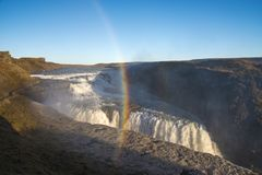 Amazing huge beautiful waterfall Gullfoss, famous landmark in Iceland, with rainbow royalty free stock photography