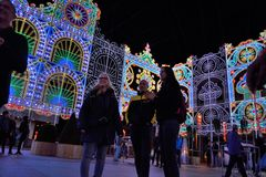 Amazing huge light-sculpture Stock Photo