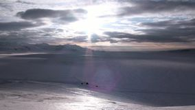 Amazing ice desert landscape in Arctic. Silence quiet of wilderness North Pole Way to Pyramid on Spitsbergen Svalbard in Norway stock video footage