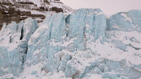 Amazing ice desert landscape in Arctic. Silence quiet of wilderness North Pole Way to Pyramid on Spitsbergen Svalbard in Norway stock footage