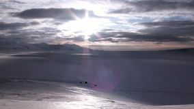 Amazing ice desert landscape in Arctic. Silence quiet of wilderness North Pole Way to Pyramid on Spitsbergen Svalbard in Norway stock video